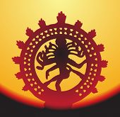 picture of bharata-natyam  - Statue of Shiva Nataraja on sunset - JPG