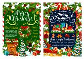 Merry Christmas Greeting Card Or Xmas Holiday Celebration. Decorations And Gift Stockings At Firepla poster