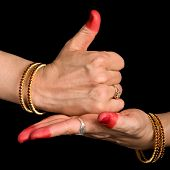 image of bharata-natyam  - Woman hands showing Shivalinga hasta of indian classic dance Bharata Natyam - JPG