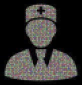 Head Physician Composition Of Round Dots In Soft Shades On A Black Background. Vector Round Dots Are poster