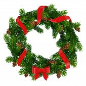 Christmas Wreath Of Xmas And New Year Winter Holidays Decoration. Christmas Tree Round Frame With Re poster