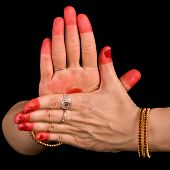 stock photo of bharata-natyam  - Woman hand showing Chakra  hasta of indian classic dance Bharata Natyam - JPG