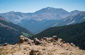 Majestic Mountain Peaks Across Alpine Tundra Mountain Top Majestic Colorado Mountain Peak With Thick poster