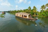 image of houseboats  - Houseboat on Kerala backwaters - JPG