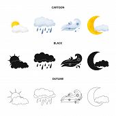 Vector Design Of Weather And Climate Sign. Set Of Weather And Cloud Stock Symbol For Web. poster