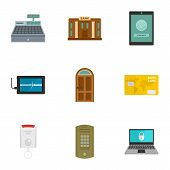 Secured Money Icon Set. Flat Set Of 9 Secured Money Vector Icons For Web Design poster