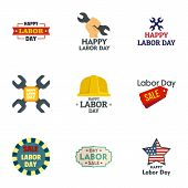 Labor Day Sale Logo Set. Flat Set Of 9 Labor Day Sale Vector Logo For Web Design poster