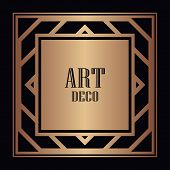 Vintage Retro Style Invitation In Art Deco. Art Deco Border And Frame. Creative Template In Style Of poster