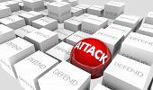 Attack Vs Defend Offense Defense Proactive 3d Illustration poster