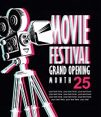 Vector Movie Festival Poster With Blurred Image Of Old-fashioned Movie Camera. Cinema Banner With Wo poster
