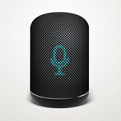 Smart Speaker Vector Illustration. Voice Search, Search Technology. poster