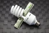Bulb Of Low Consumption And Ticket Of Dollars poster