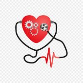 World Heart Day. Stethoscope Of The Heart. Gear Mechanism In The Heart. Artificial Heart. Vector Iso poster