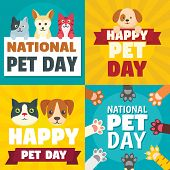 Day Pet Banner Set. Flat Illustration Of Day Pet Vector Banner Set For Web Design poster