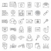 Internet Security Icon Set. Outline Set Of Internet Security Vector Icons For Web Design Isolated On poster