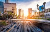 Traffic At Sunset. Downtown Los Angeles , California poster