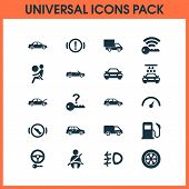 Automobile Icons Set With Handbrake Warning, Fuel, Cabriolet Press Brake Pedal Elements. Isolated Ve poster