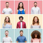 Collage of group of young people woman and men over colorful isolated background with a happy and co poster