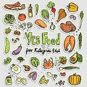 Keto-friendly Food Vector Stickers, Sketch Illustration. Healthy Keto Food - Fats, Proteins And Carb poster