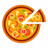 Round Delicious Tasty Pizza With Mushrooms And Onion In Flat Style. Vector Illustration Of Sliced Pi poster