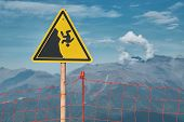 Mountain Danger Sign About Cliff Falling. Extreme Sports Danger Concept Photo poster