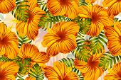 Tropical Pattern. Orange Green Exotic Summer Flower Vector Background. Beauty Fasion Monstera, Palm  poster