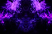 Fantasy Print For Clothes: T-shirts, Sweatshirts. Thick Colorful Smoke Of Purple, Blue Colors Smoke  poster