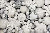 White and silver christmas decorations with star, polar bear, snowflake, balls, pine cone and heart  poster