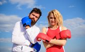 Marriage As Test Of Feelings. Stand For Your Point View. Couple In Love Boxing Gloves Sky Background poster
