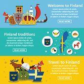 Finland Travel Banner Horizontal Concept Set. Flat Illustration Of 3 Finland Travel Banner Horizonta poster