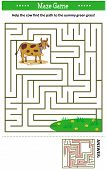 Maze Game: Help The Cow Find The Path To The Yummy Green Grass. Answer Included. poster
