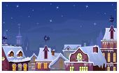 Winter Townscape With Night Sky And Houses Roofs. Night Town Scene Vector Illustration. Christmas Ev poster