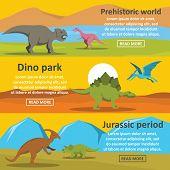 Dinosaur Park Banner Horizontal Concept Set. Flat Illustration Of 3 Dinosaur Park Banner Horizontal  poster