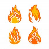 Collection Flame Vector Eps10, Icon Flame Vector Image, Collection Fire Icon Eps10, poster