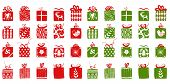 Green And Red Simple Gift Boxes For Holiday Celebrations Scandinavian Nordic Style. Christmas, New Y poster