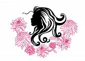 Vector Silhouettes Of Girl Hairstyles. Profile. Girls Silhouette .silhouette Of Beautiful Woman With poster