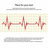 Heart Rate. Vector Cardiogram With Space For Your Text. Eps. poster