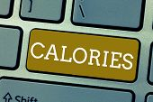 Handwriting Text Calories. Concept Meaning Energy Released By Food As It Is Digested By The Huanalys poster
