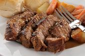 picture of pot roast  - Closeup of a plate of beef pot roast with mushroom gravy - JPG