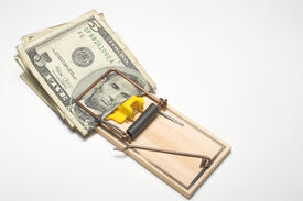 foto of mouse trap  - Money trapped in a mousetrap - JPG