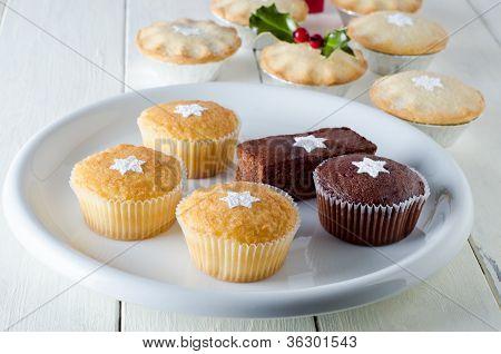 Navidad Cupcakes y pasteles de carne picada