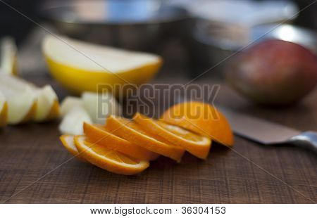 Orange, Melon And Mango Preparation For Fruit Salad