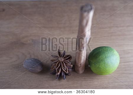 Lime, Cinnamon,star Anise, And Nutmeg