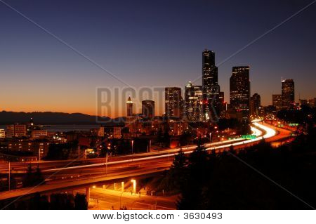 Cityscape And Freeways