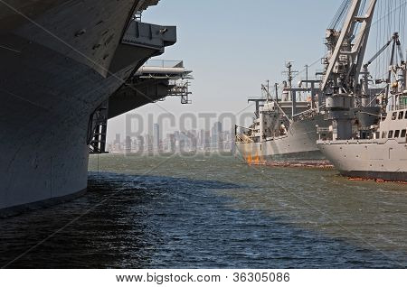 Navy Ship And San Francisco Skyline
