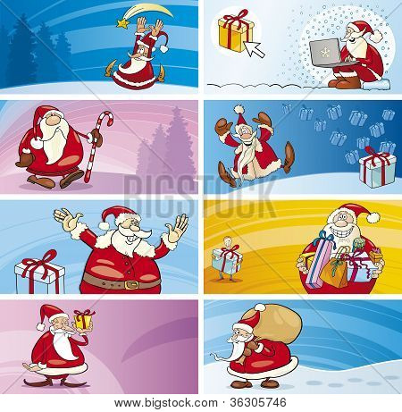 Cartoon Greeting Cards With Santa Clauses