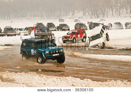 Almaty, Kazakhstan - February 11  Off-road Vehicle Jeep 4X4 During Festival, Devoted To 20 Th Annive