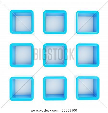 Copyspace Cube Square Shelf Boxes Isolated