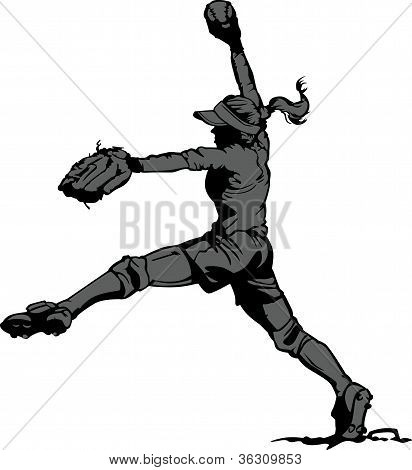schnelle Tonhöhe Softball Krug-Vektor-illustration