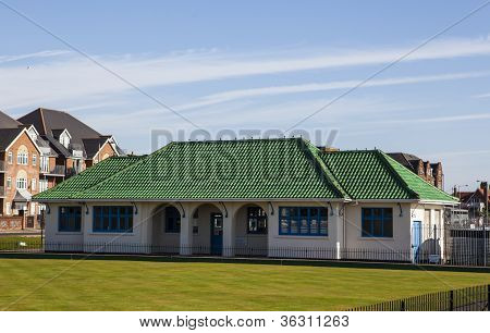 Green roof tiles on clubhouse
